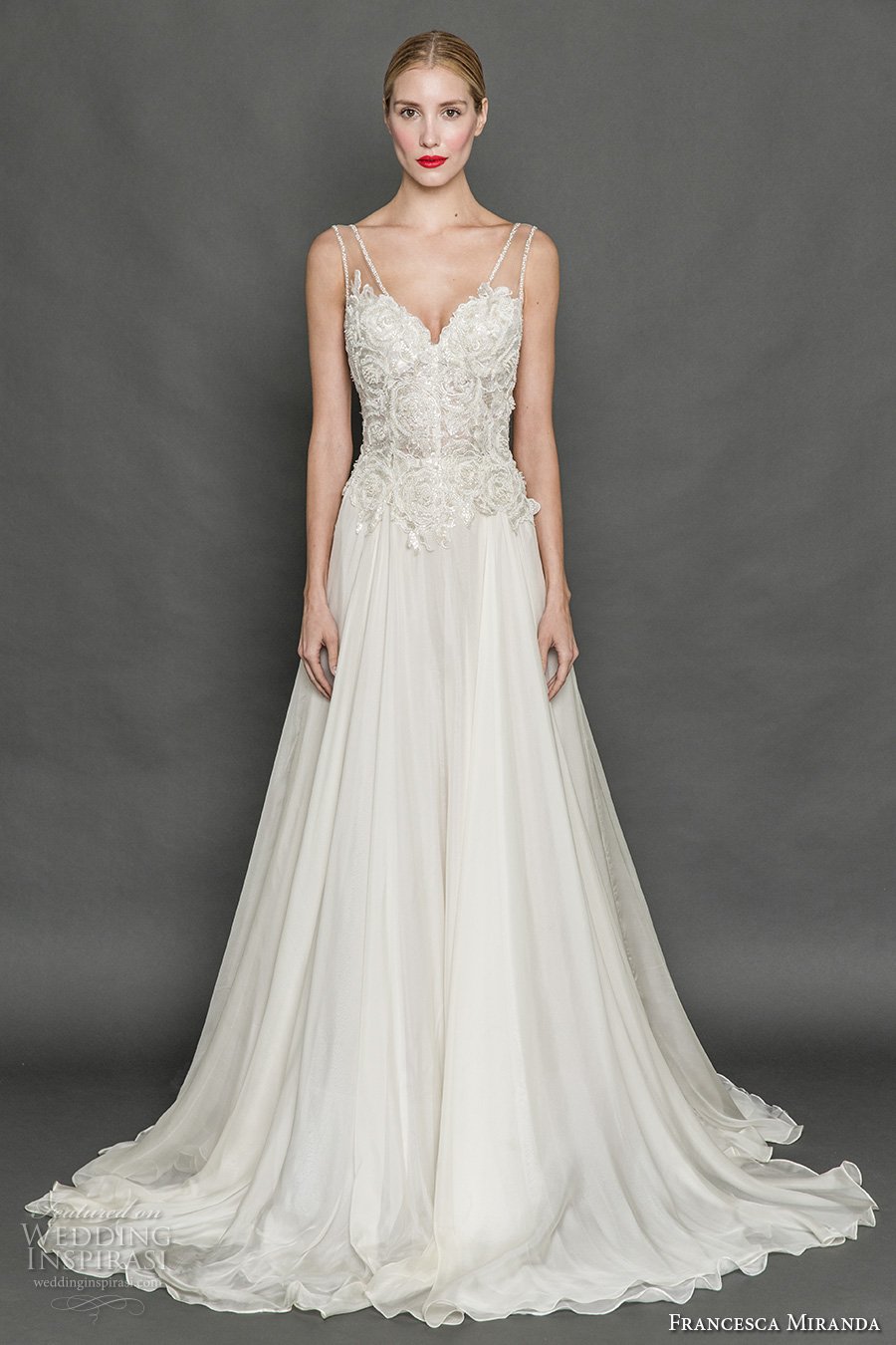 francesca miranda fall 2017 bridal sleeveless thick strap v neck heavily embellished bodice romantic elegant a line wedding dress chapel train (flora) mv