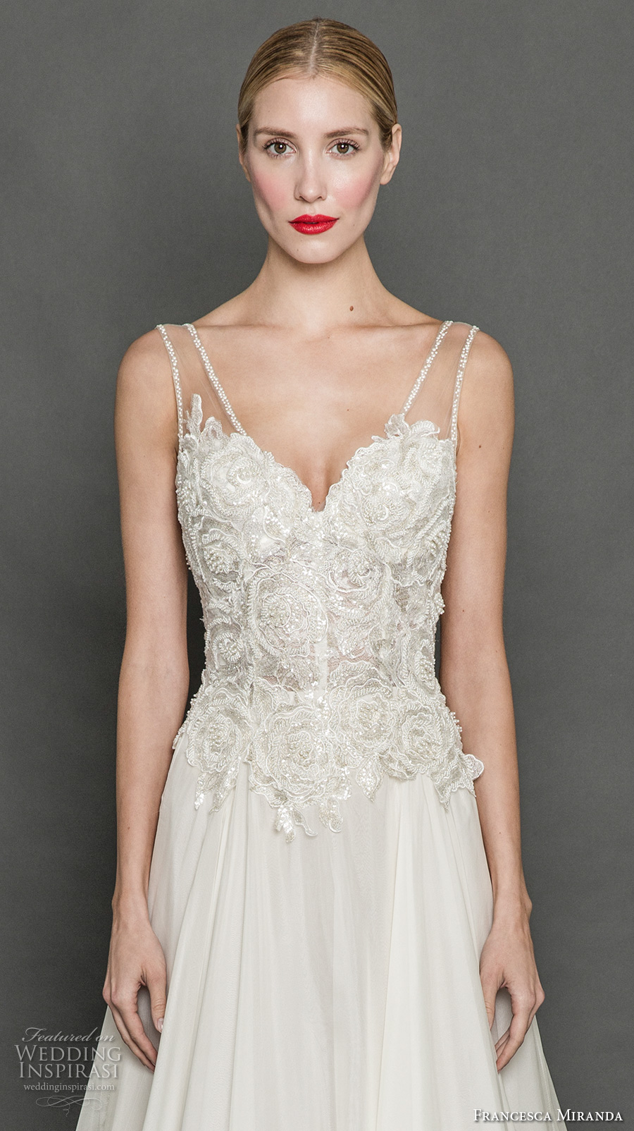 francesca miranda fall 2017 bridal sleeveless thick strap v neck heavily embellished bodice romantic elegant a line wedding dress chapel train (flora) zv