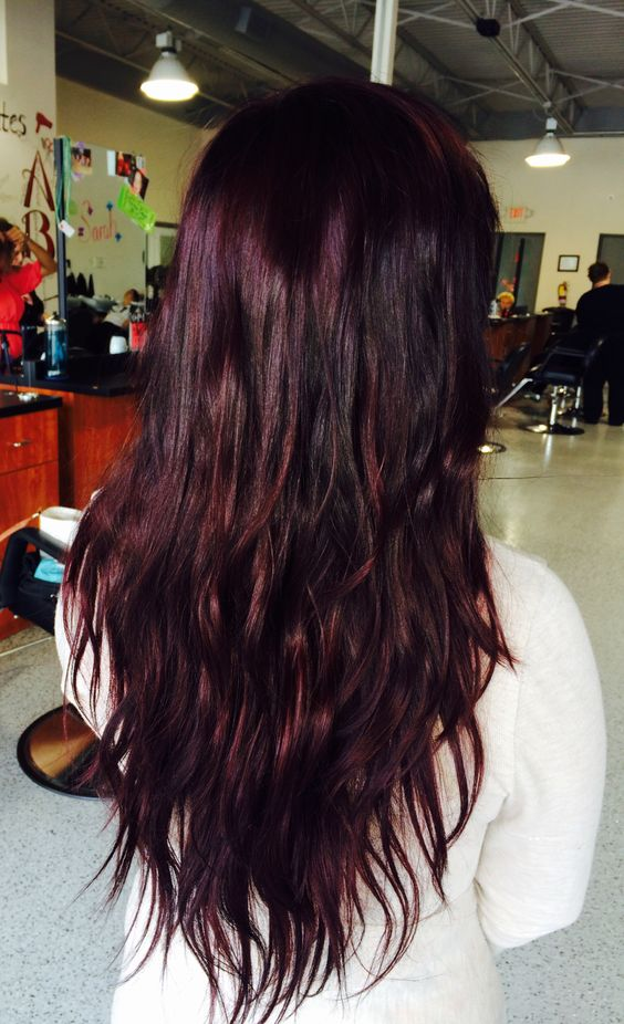 black hair with cherry highlights and lowlights