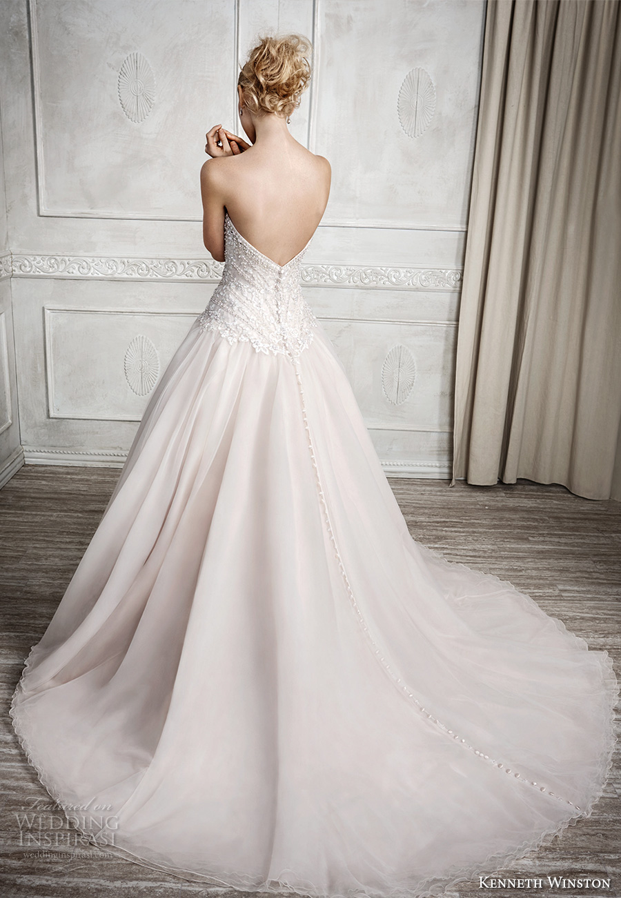 kenneth winston fall 2016 bridal strapless sweetheart neckline heavily embellished bodice champagne color princess a line wedding dress chapel train (1671) bv