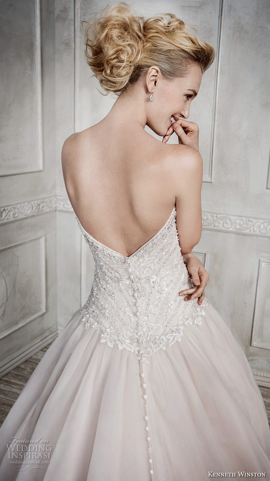 kenneth winston fall 2016 bridal strapless sweetheart neckline heavily embellished bodice champagne color princess a line wedding dress chapel train (1671) zbv