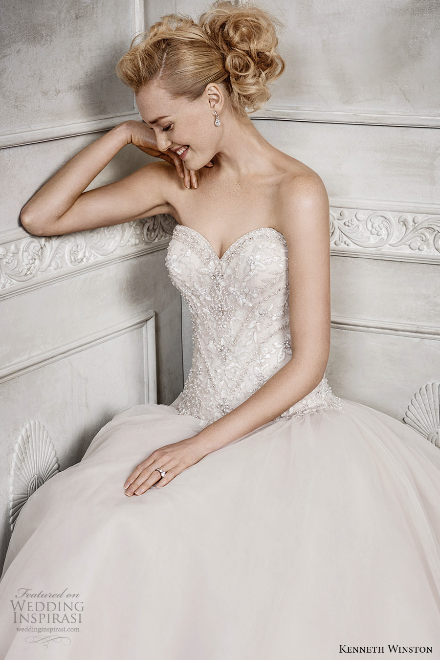 kenneth winston fall 2016 bridal strapless sweetheart neckline heavily embellished bodice champagne color princess a line wedding dress chapel train (1671) zv