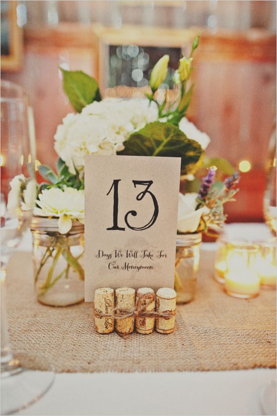 tied wine corks and cardboard with table numbers placed into them