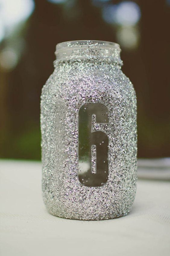 glitter mason jar table numbers can be used as vases