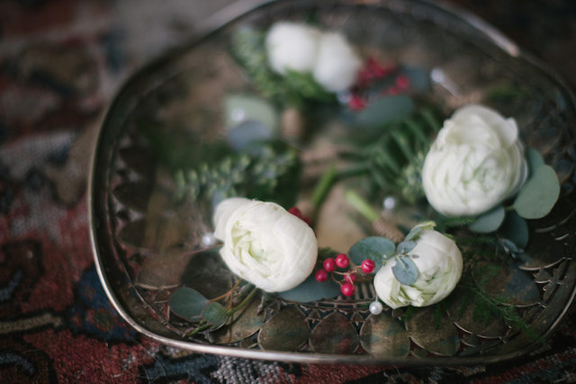 White and berry boutonnière | Lauren Carroll Photography
