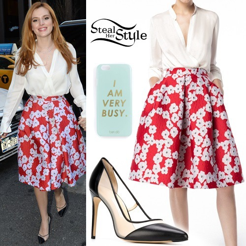 Bella Thorne - Floral skirt with white blouse
