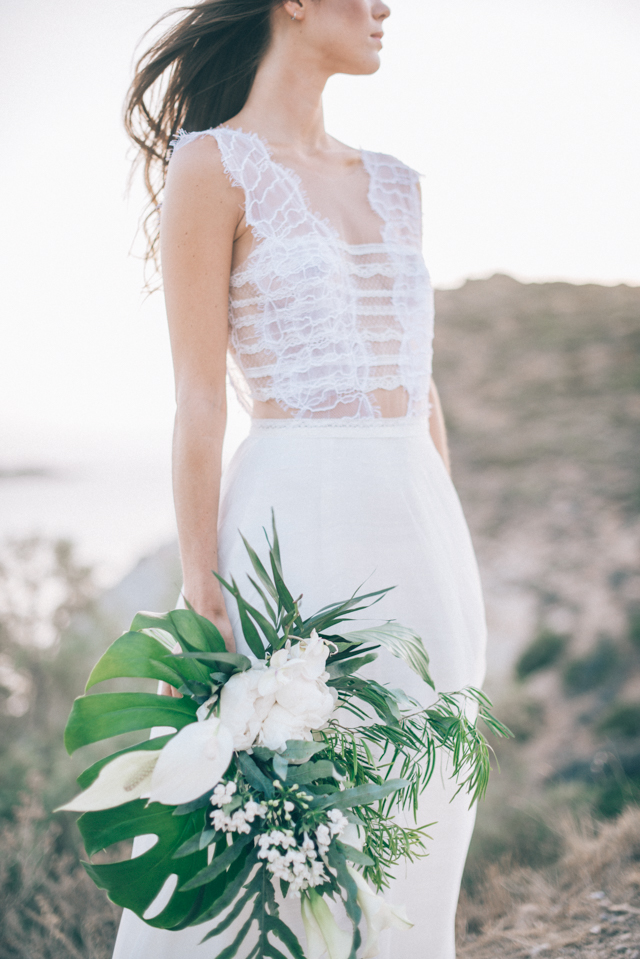 Lace illusion destination wedding dress | Paulina Weddings Photography