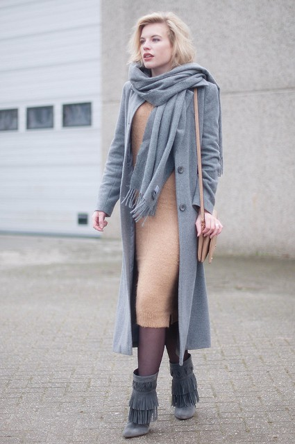 With camel midi dress and gray midi coat and scarf