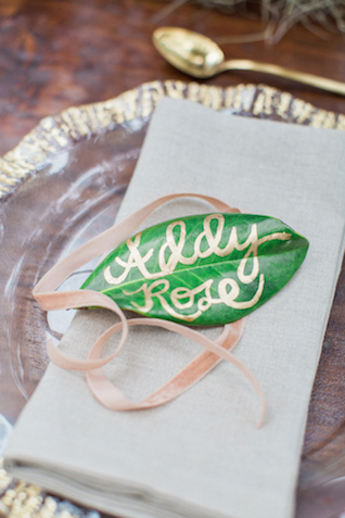 Leaf place card | Flora + Fauna Photography