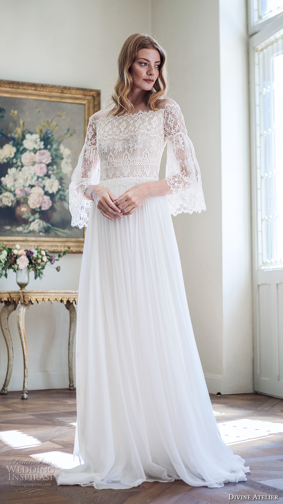 divine atelier 2017 bridal long bell sleeves off the shoulder straight neck heavily embellished bodice romantic elegant modified a line wedding dress sweep train (unnamed12) mv