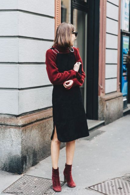 With marsala sweatshirt and black knee-length dress