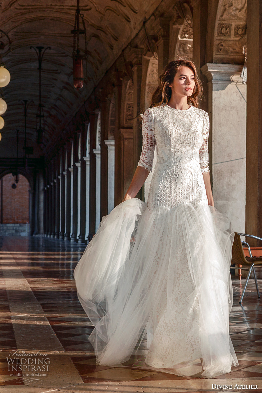 divine atelier 2017 bridal half sleeves round jewel neck heavily embellished bodice tulle skirt drop waist a line wedding dress open back (unnamed06) mv
