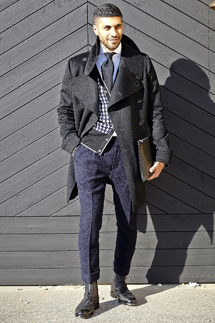 With black coat, printed blazer and cuffed pants