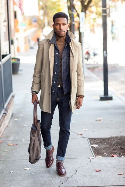 With turtleneck, denim jacket, beige coat and cuffed jeans