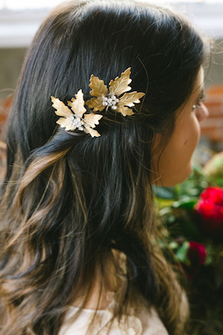 Gold leaf hair clips | Amy Donohue Photography