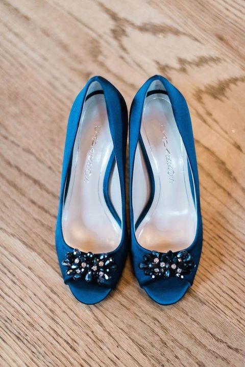 royal blue shoes with embellishments