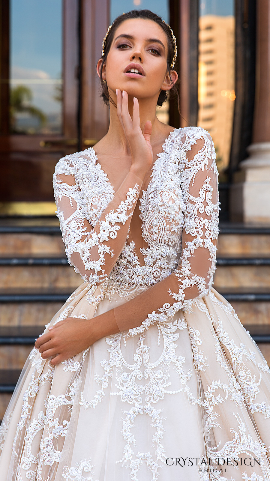 crystal design 2017 bridal long sleeves deep plunging v neck full embellishment bodice princess sexy ball gown a line wedding dress keyhole back monarch train (chantale) zv