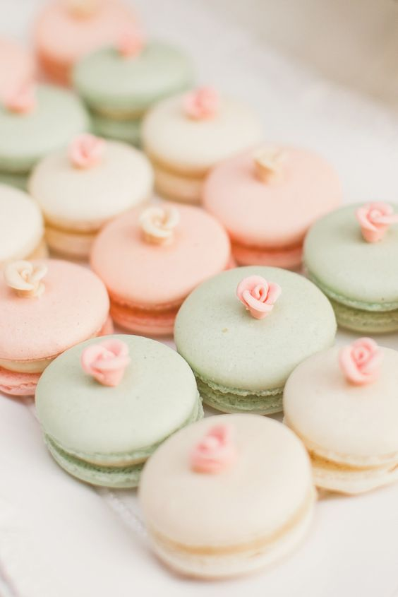 mint, peach, and cream french macarons with roses