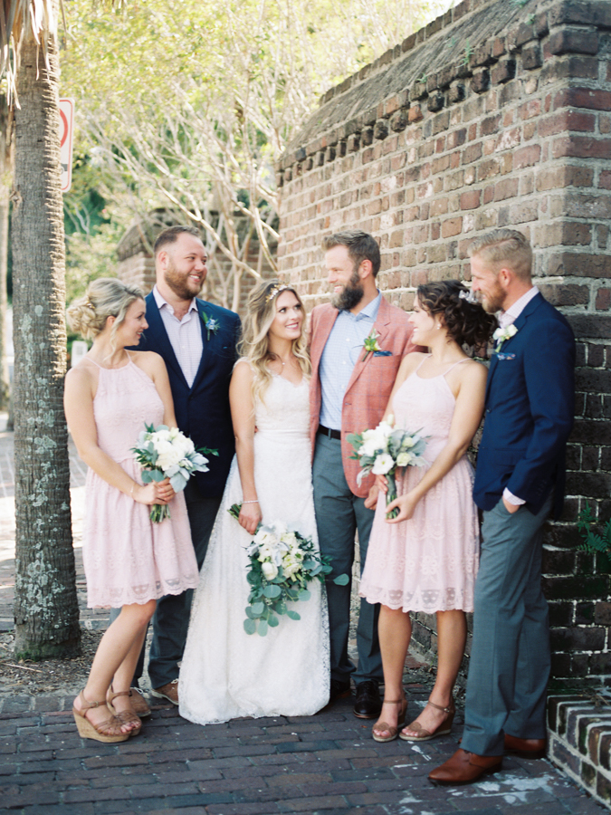 blush-colored bridesmaids dresses - photo by Christina Pugh Photography http://ruffledblog.com/fall-wedding-inspiration-from-the-big-fake-wedding