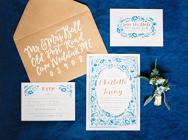 Blue embroidered wedding invitation design | Justina Bilodeau