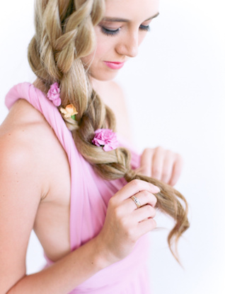 Braided hair with flowers | We Are Origami Photography