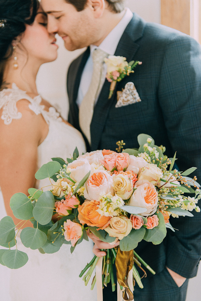 Blush peony and eucalyptus leaf bridal bouquet | GingerSnap Photography