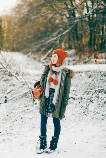 With printed skirt, parka and orange hat