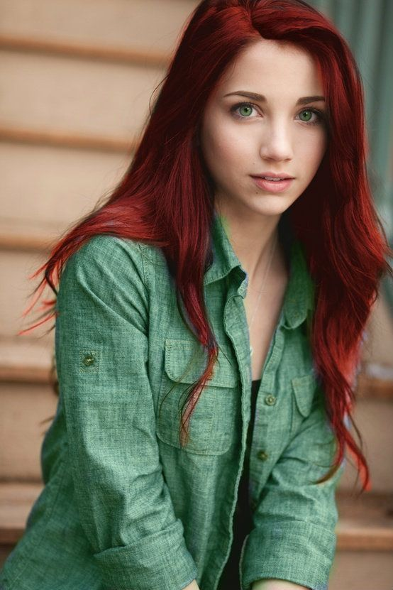 long red locks look stunning with green eyes