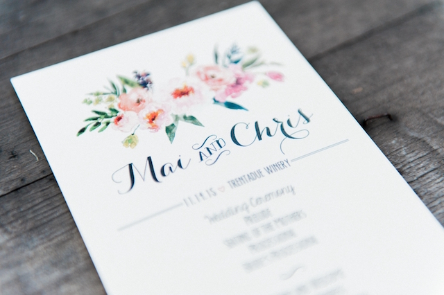 Wedding program with flower details | Love in Photographs