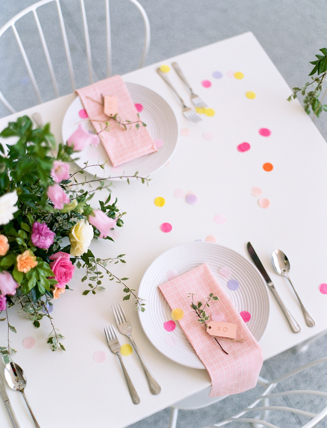 Confetti strewn table | We Are Origami Photography
