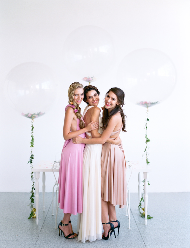 Bridesmaids shoot with flower-filled balloons | We Are Origami Photography
