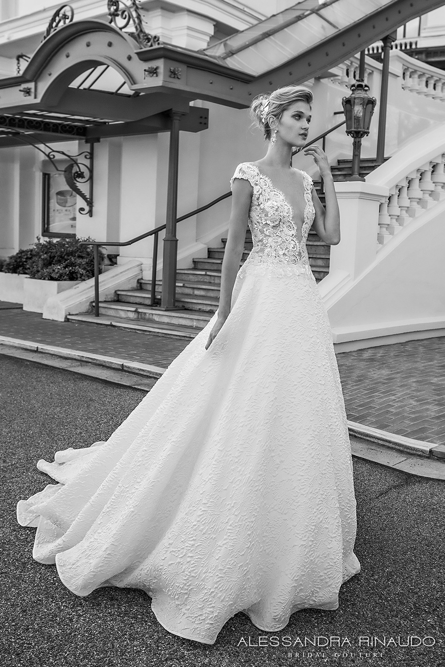 alessandra rinaudo 2017 bridal cap sleeves illusion bateau deep plunging neckline heavily embellished bodice romantic sexy a line wedding dress open low v back chapel train (betty) mv