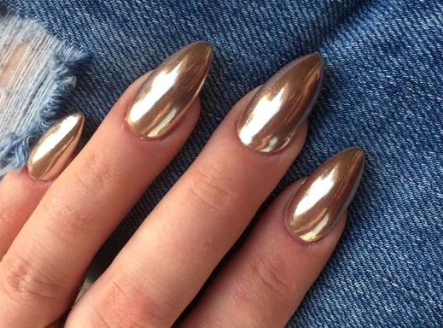 long and sharp chrome nails