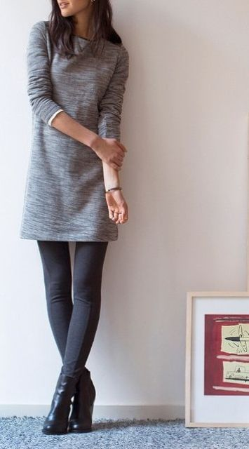 leggings, a grey sweater dress and heels