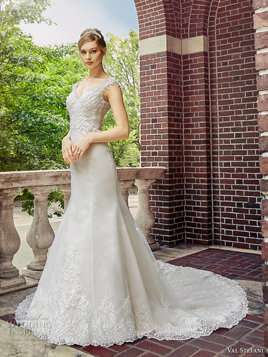 val stefani spring 2017 bridal sleeveless with strap v neck heavily embellished bodice elegant trumpet wedding dress chapel train (d8123) mv