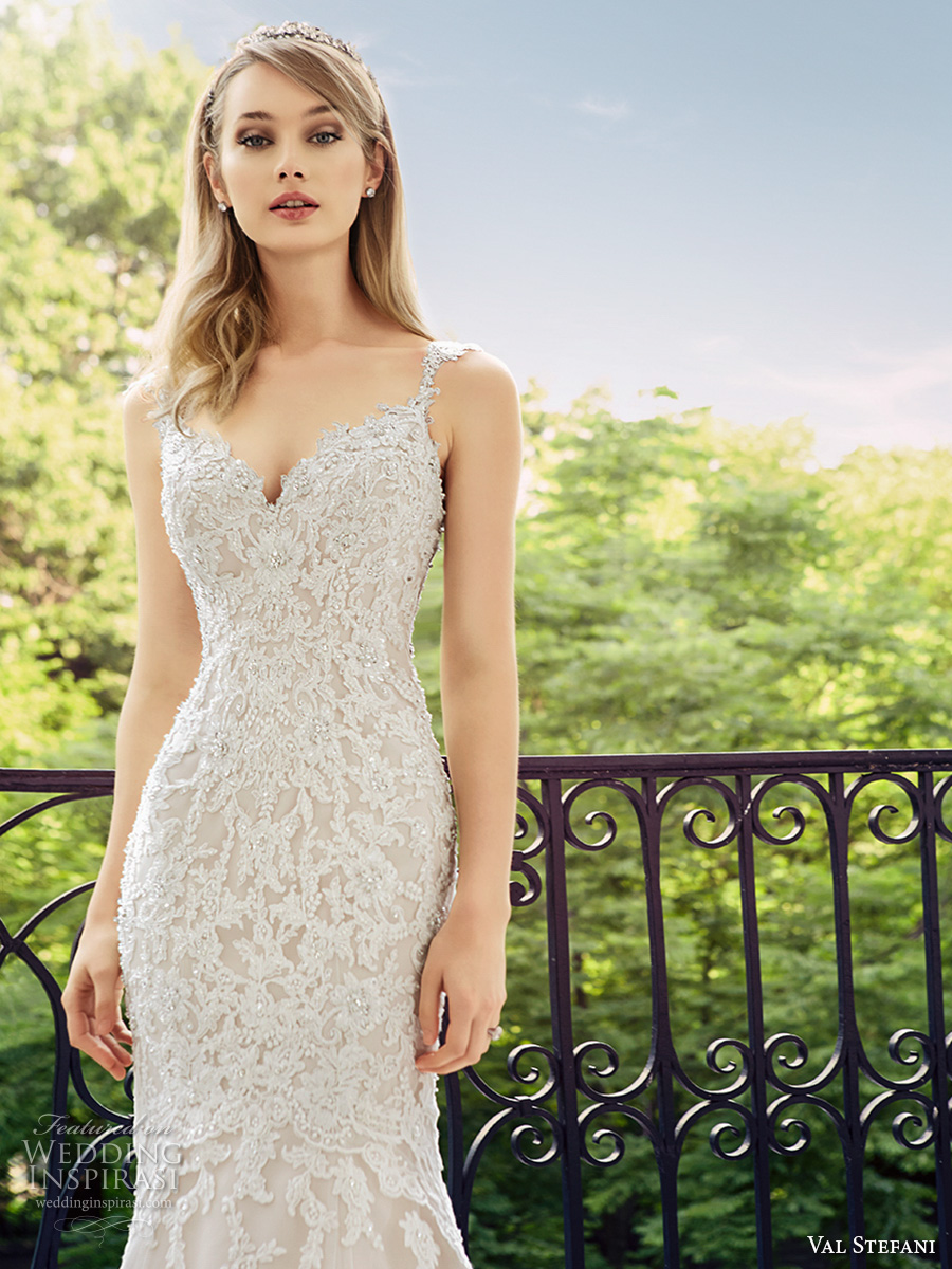 val stefani spring 2017 bridal spagetti strap sweetheart neckline full embellishment elegant fit and flare wedding dress low back chapel train (d8124) zv