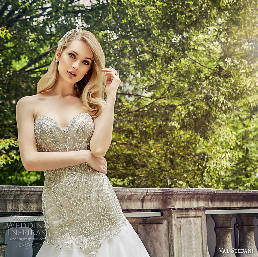 val stefani spring 2017 bridal strapless sweetheart neckline heavily embellished bodice drop waist a line wedding dress chapel train (d8126) zv