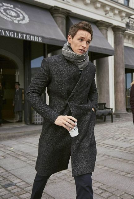 With printed oversized scarf and deep gray pants