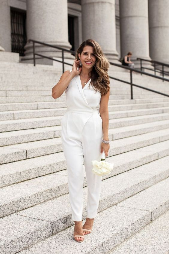 white jumpsuit and nude heels for a city hall wedding