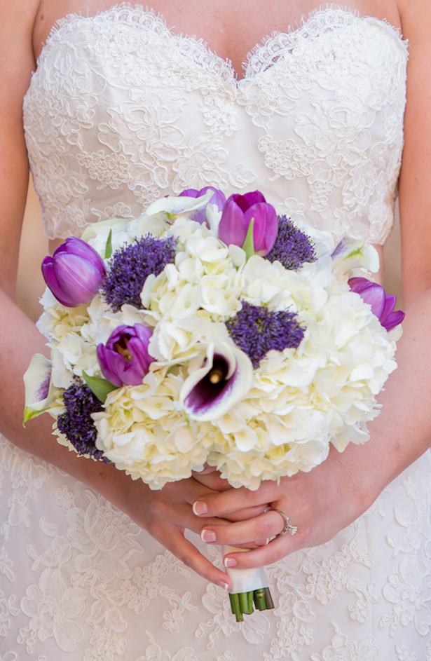 White and purple wedding bouquet - Life's Highlights
