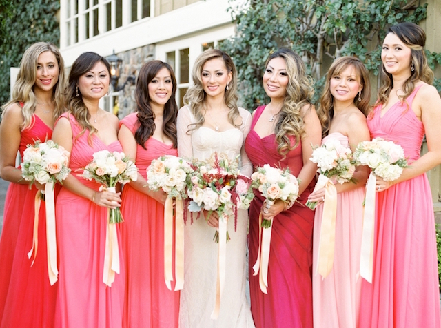Bridesmaids in shades of red and pink | Love in Photographs