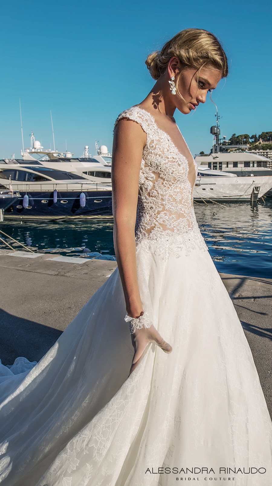alessandra rinaudo 2017 bridal cap sleeves illusion bateau deep plunging v neck lace heavily embellished bodice romantic princess a line wedding dress v back royal chapel train (blair) zsdv