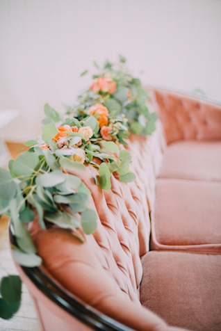 Rose pink velvet sofa | GingerSnap Photography