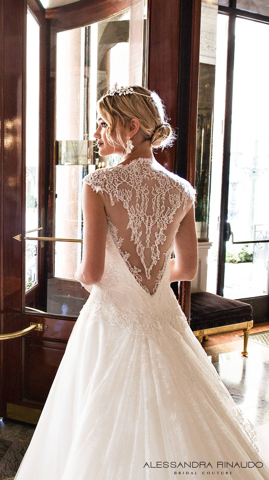 alessandra rinaudo 2017 bridal cap sleeves illusion round neck sweetheart neckline drop waist heavily embellished bodice a line wedding dress lace back long train (boadicea) zbv