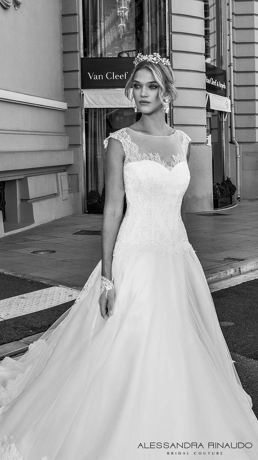 alessandra rinaudo 2017 bridal cap sleeves illusion round neck sweetheart neckline drop waist heavily embellished bodice a line wedding dress lace back long train (boadicea) zv