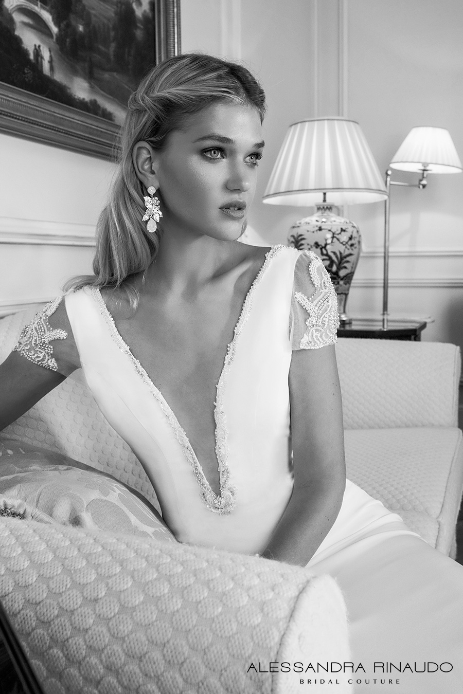alessandra rinaudo 2017 bridal short sleeves plunging v neck simple clean elegant sheath wedding dress open low back chapel train (brooklyn) zv