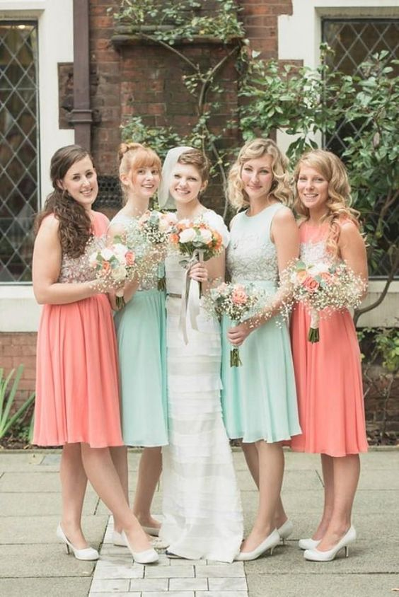 peach and mint bridesmaids