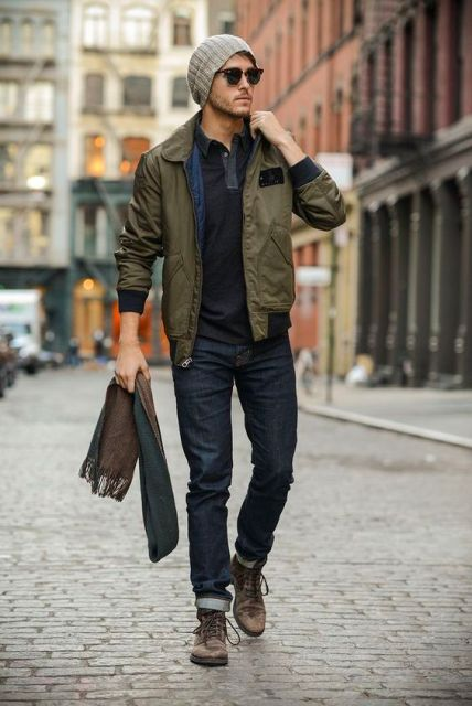 With beanie, cuffed jeans and brown boots