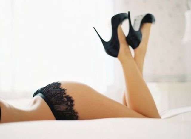 black stiletto heels with the same color lingerie for a hot picture