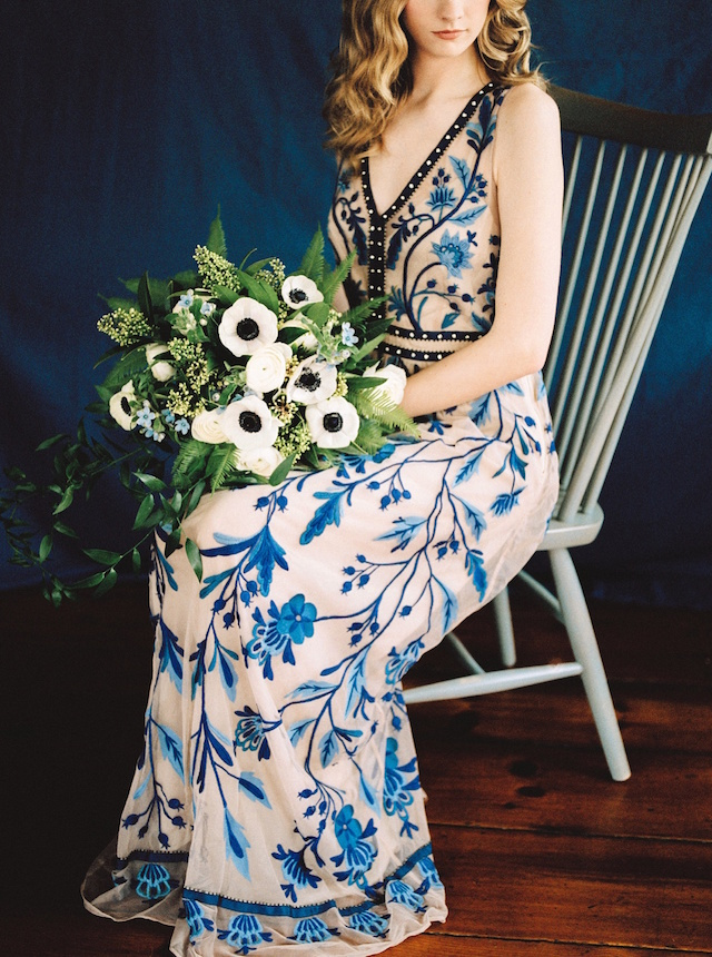 Blue embroidered dress from Anthropologie | Justina Bilodeau